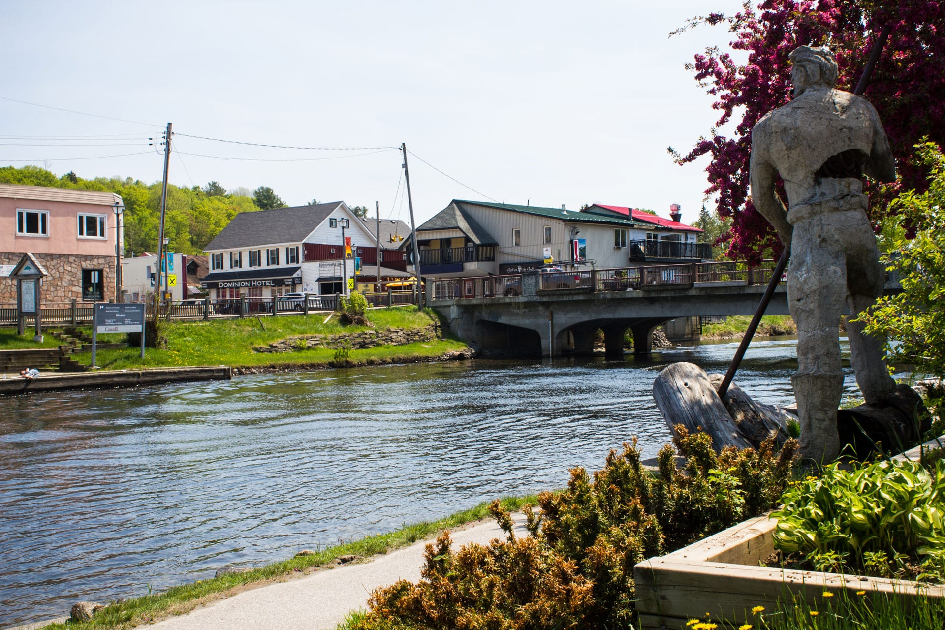 Photo of the downtown bridge in Minden, crossing the Gull River through cottage country.